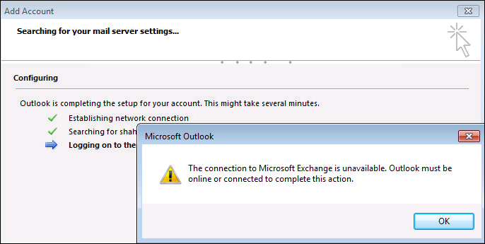 The Connection to Microsoft Exchange is Unavailable Outlook